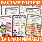 Color Me Crazy - November Reading & Math No Prep Coloring