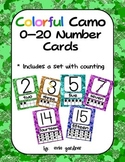 Colorful Camo Number Cards