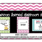 Colorful Chevron Classroom Themed Set with editables