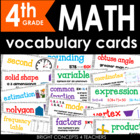 Colorful Common Core Math Vocabulary Cards-Fourth Grade