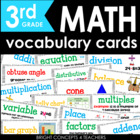 Colorful Common Core Math Vocabulary Cards-Third Grade