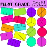 Colorful Fractions {Digital Clip Art} whole, halves, third