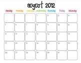 Colorful Modern Calendar for August 2012-June 2013 PDF