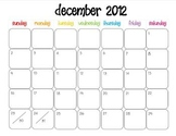 Colorful Modern Calendar for December 2012--Publisher Doc