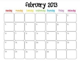 Colorful Modern Calendar for February 2013--Publisher Doc