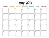 Colorful Modern Calendar for May 2013--Publisher Doc
