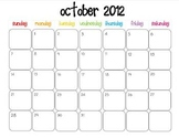 Colorful Modern Calendar for October 2012--Publisher Doc