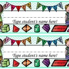 Colorful Third Grade EDITABLE Name Plate
