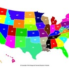 Colorful United States Map with state abbreviations