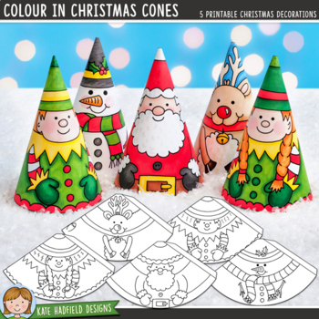 Colour In: Christmas Cones (Printable Christmas Craft)