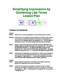 Combining Like Terms (Simplifying Expressions) Lesson Plans