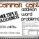 Common Core Addition Word Problems Sums to 100 Multiple Ad
