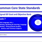 Common Core Aligned IEP Goal and Objective Bank Middle Grades 6-8
