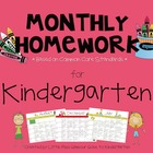 Common Core Based Monthly Homework Calendars for Kindergarten