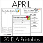 Common Core Crunch - April - ELA CCSS Printables