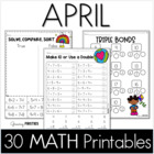 Common Core Crunch - April - MATH - CCSS Printables - Grow