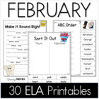 Common Core Crunch - February - ELA CCSS Printables