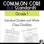 Common Core ELA Checklists - Class and Individual - Grade 1