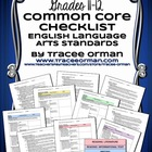 Common Core ELA Standards Checklists Grades 11-12