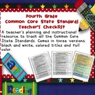 Common Core ELA and Math Checklist Combo (Fourth Grade)
