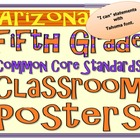 Common Core Fifth Grade Posters for Arizona .(Tahoma font)