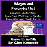 "Common Core Figurative Language Adages & Proverbs Unit"" Ta"