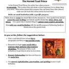 Fourth Grade Writing Prompt:  The Horned Toad Prince