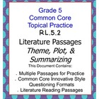 Common Core Grade 5:  Theme, Plot, & Summarizing RL.2 Practice