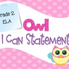 Common Core I Can Statements ELA Pastel Owl Grade 2