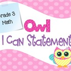 Common Core I Can Statements Math Pastel Owl Grade 3
