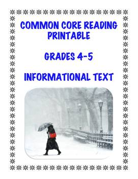 Common Core Informational Text Assessment: Winter-Theme