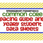 Common Core Kindergarten Mathematics Yearly Data Sheets