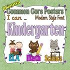 Common Core Kindergarten Posters for Arizona (I can) Modern Font