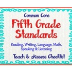 "Common Core Language Standards - 5th Grade Checklist ""Teac"