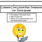 Common Core Lesson Plan Templates in Microsoft Word for 3rd Grade