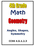 Common Core Math 4th Grade Geometry Activities Angles Shap