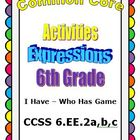 Common Core Math 6th Grade Expressions (6.EE.2a,b,c) with