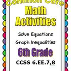 Common Core Math 6th Grade - Solve Equations - Graph Inequ