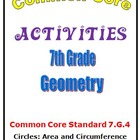 Common Core Math 7th Grade Geometry (7.G.4) Circle Activities