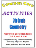 Common Core Math 7th Grade Geometry (7.G.5, 7.G.6) Angles,