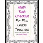 Common Core Math Task First Grade checklist