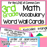 Common Core Math Vocab Cards for 3rd Grade