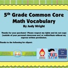 Common Core Math Vocabulary: 5th Grade