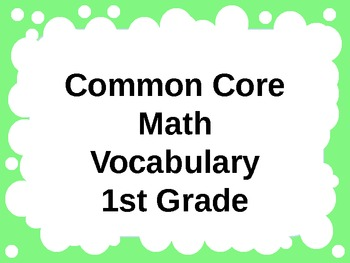 Common Core Math Vocabulary PowerPoint for 1st Grade