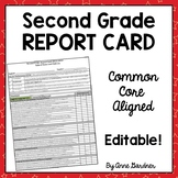 Common Core Report Card, Second Grade- Editable - Fits on