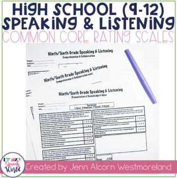 Common Core Speaking & Listening Rating Scales {9-12}