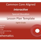 Common Core Special Education Interactive Lesson Plan Temp