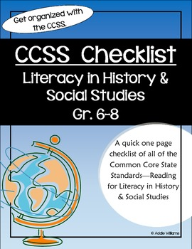 Common Core Standards-History/Social Studies Gr 6-8 Teache