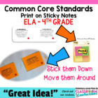Common Core Standards Sticky Notes {ELA-4th Grade}