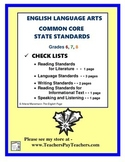 Common Core State Standards ELA:  Checklists 6,7,8